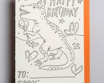 "Letterpress card,  ""Happy Birthday (Kids color by number)!"""