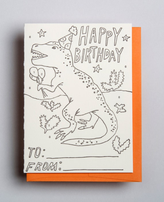 """Letterpress card,  """"Happy Birthday (Kids color by number)!"""""""