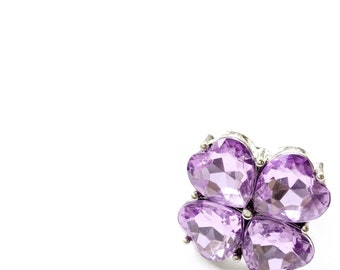 Shimmery Lilac Clover Adjustable Cocktail Ring. Fast Shipping with Tracking for US Buyer. Gift Box & Ribbon Included in Purchase.