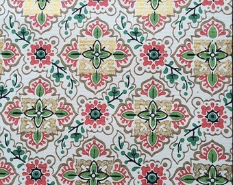 Vintage Wallpaper - Red Green Black Gold Cream Geometric 1950's  - 1 Yard