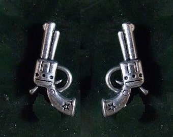 45 Caliber Texas 6 Shooter Gun Stud Earrings Sterling Silver Free Domestic Shipping