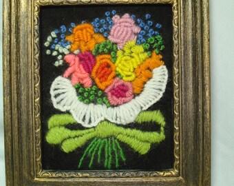 1970s Handmade Crewel Work Framed Bouquet Of Flowers Art work.