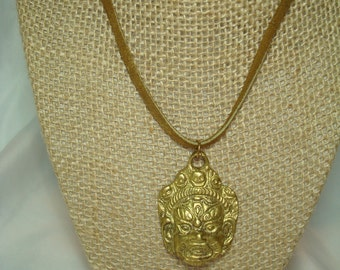 1980s Brass Bronze Thailand God Mask Like Necklace.