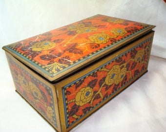 1940s CANCO Asian Golden Flowers Red and Black Tin Box.
