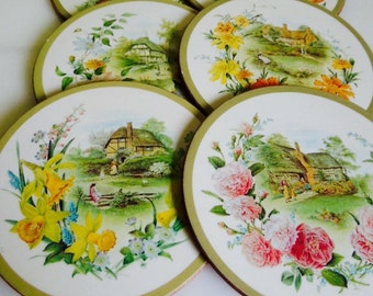 Vintage Coaster Set, Cottage Scenes, Set of Six, Cork Backed, ON SALE