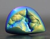 Botryoidal, Galactic Blue Pink and Green Druzy Cabochon Metallic Focal Bead Titanium Drusy, Jewelry Tutorial Stone, Beginner Bezel (11816)