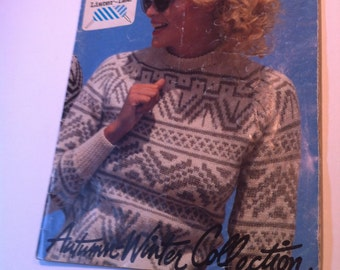 Vintage Sweater pattern booklet bought in the UK Fisherman Aran Lister Lee Knitting Wools and yarns