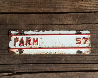 Vintage Metal Sign Farm Tag Red & White