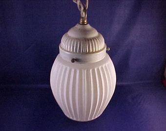 Retro White Glass Swag Lamp