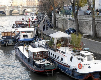 Paris Photography of Houseboats on the Seine River in Winter