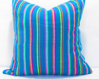 Teal blue Pillow, Tribal Pillows Covers, Colorful Pillow Covers, Bohemian Decor, Boho Bedding, Mexican Cushion, Square, tribal pillowcase