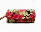 Cellphone Wallet iPhone 6 Plus Samsung Galaxy Note 4 S6 S4 12 Card Slots Zipper Pocket Wristlet Xmas Red Allover Poinsettia on Black BG