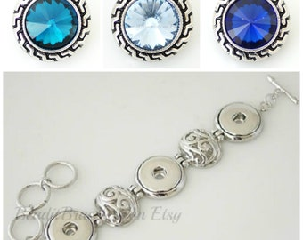 Snap Bracelet w/ 3 x 20 mm snap charms are interchangeable with Ginger Snaps Jewelry and other 18-20 mm snap jewelry