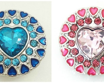 Snap charms will fit your 18-20 mm Ginger Snaps jewelry and your Magnolia and Vine jewelry. 20 mm  snap charm, pink heart charm