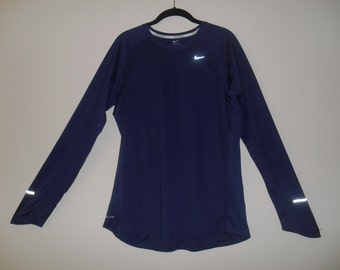 Vintage Nike Crew Long Sleeve Navy Blue Top Size XL