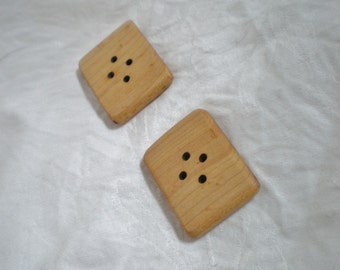 Oversized Chunky Wooden Buttons Bird's Eye Maple Handcrafted set of two