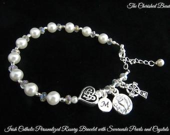 Irish Communion Swarovski Pearl, Crystal and Celtic Heart Personalized Rosary Bracelet