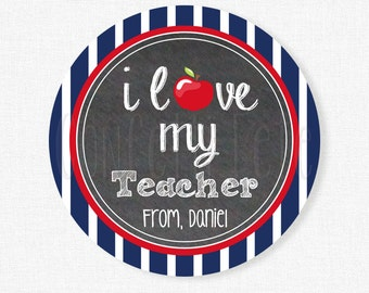 Teacher Gift Tags, Love my Teacher Tag, Valentine's Day Tags, Teacher Appreciation, Navy and Red, Personalized