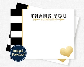 Black and Gold Thank You, Black White Stripe Thank You, Gold Foil Thank You Cards, Birthday Thank You Cards Printable INSTANT DOWNLOAD