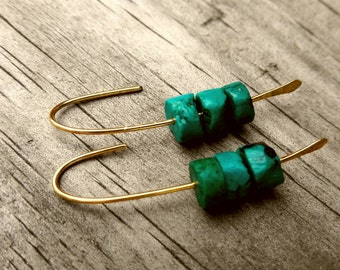 Dark Turquoise And brass Earrings