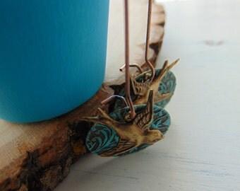 Aqua Brass Earrings