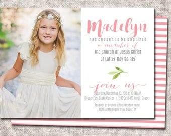 LDS Baptism invitation, modern baptism invitation, girl, blessing invitation,baptism invite PRINTABLE  (Madelyn)
