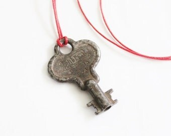CIJ 40% off sale // Vintage MILLER Made in USA Mini Skeleton Key Upcycled Necklace on Waxed Red Cord