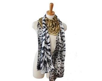 50% half off sale // Vintage 80s 90s Animal Print Fashion Scarf Lot, 3 total - Silk, zebra, oblong