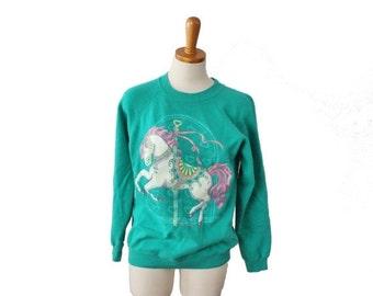 30% off sale // Carousel Horse Teal Sweatshirt - Women M - Vintage 80s Hanes