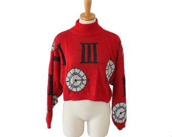 Vintage 80s Cropped Long Sleeve Clock Sweater // novelty print // Women M, Creative Force