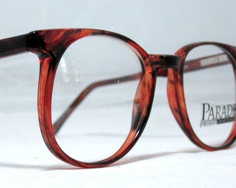 Vintage 80s Large Horn Rim Eyeglass Frames. Tortoise Brown