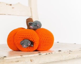 Crochet pattern : Mommy mouse and little mouse and their pumpkin house