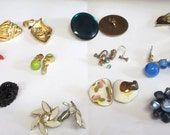 Vintage Clip-on Earrings, 11 pair ... all Clip-on and Screw backs . Metal, Arcylic, Glass and Drop Earrings  item #COEL11