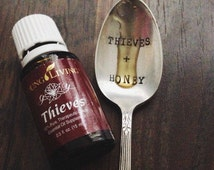 Thieves + Honey - Hand Stamped, Inspirational Vintage Coffee Spoon for Essential Oil Lovers