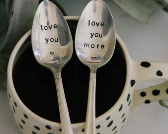 Love you & Love you More (TM) - Hand Stamped Vintage Coffee Spoon Set for Coffee Lovers