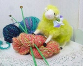 Sheep lamb needle felted wool sculpture toy collectible curly locks colorful lime