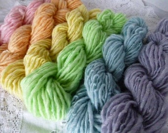 Pastel shades 6 bitty skeins handspun art yarn wool and sparkle blend bulky weight