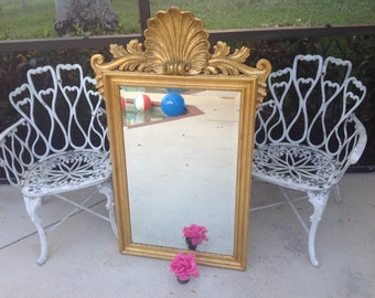 "GOLD SHELL MIRROR / 4 Ft Tall Carved Wood Gold Gilt Shell Mirror / Made in Italy /Carved Wood Scroll Shell Mirror 48"" x 29"" Retro Daisy Girl"