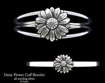 Daisy Flower Bracelet Sterling Silver Daisy Flower Cuff Bracelet Handmade