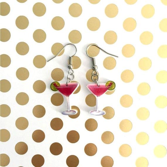 cosmopolitain, cocktail, earring, jewellry, handmade shrink plastic, pink, lemon, stainless hook, handmade, les perles rares