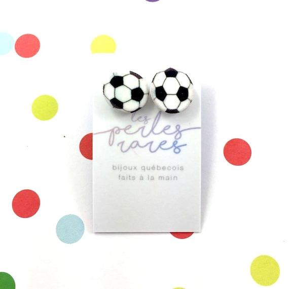 soccer, foot, football, earring, shrink plastic, sport, black and white, plastic, stainless stud, nickel free, handmade, les perles rares