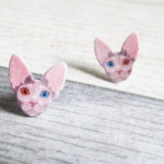 Small, cat, sphynx, eye, blue, red, earrings, shrink plastic,  stainless stud, handmade, les perles rares