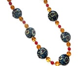 Floral Necklace, Lampwork Glass Necklace, Navy, Blue, Amber, Cream, Maroon, Long Necklace, 30 Inch Necklace, Gift For Her