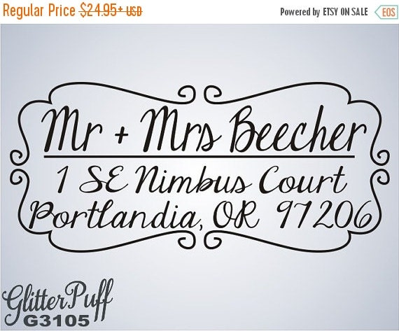 Handwritten Style - With Simple Border - Custom Address Stamp - Self-Inking (G 3105)