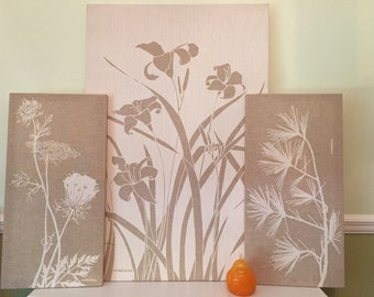MARUSHKA LINEN ART Screen Print Flowers Three Panels, Mid Century, Minimalist, at Modern Logic