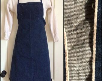 Vintage Denim Work Chore Apron with Selvedge 1 wash Indigo blue jean