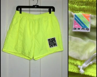 1990's Neon Surf Gear Board Shorts Swim Trunks size Large Day glow black light Yellow Rave