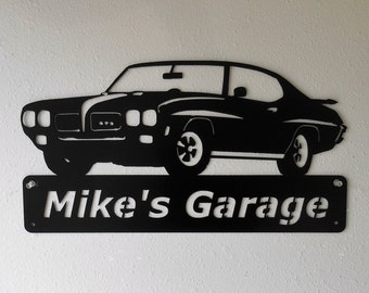Personalized 1970 Pontiac GTO Man Cave Metal Sign Garage Art Satin Black
