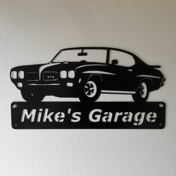 1970 Pontiac GTO Goat Personalized  Man Cave Metal Sign Garage Art Satin Black