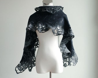 Black and gray felted scarf, wool, silk, lace pencil roving